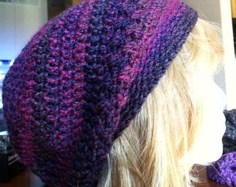 Purple crochet slouchy beanie