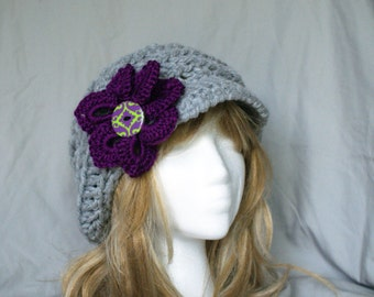 Crochet slouchy hat with brim