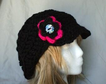 Crochet black slouchy hat with brim