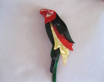 Unsigned Lea Stein Vintage Lucite Parrot Brooch