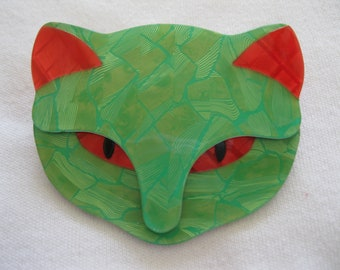 BacchusThe Cat Head Pin By French Designer Lea Stein