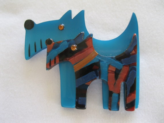 Double Scotty Terrier  Dog Pin By French Designer