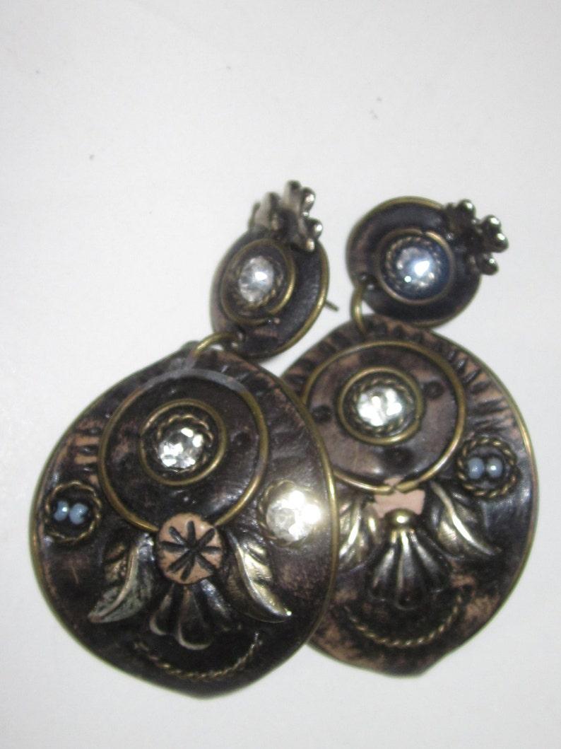 Vintage Steampunk Renaissance Style Drop Earrings-Vintage 50/'s Drop Post Earrings-Floral Rhinestone Pattern on Embossed Bronze
