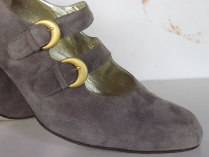 9491639a04e87 Vintage VALENTINA by RANGONI Double-Strap Mary Jane Taupe Cashmere Suede  Shoes with Louis Heel-Size 8M Made for Saks Fifth Ave