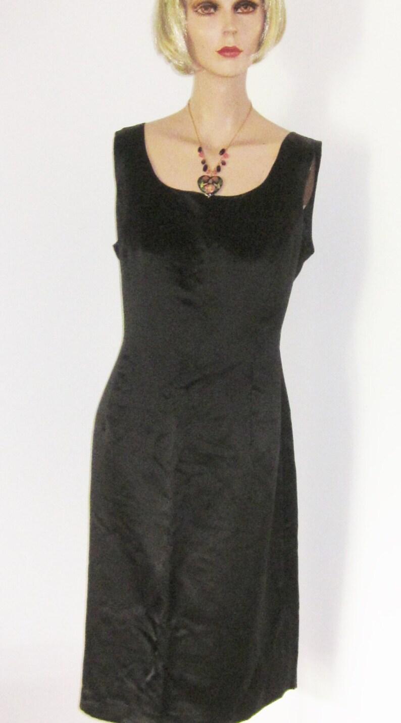 b03d1291dc947 Vintage Black SILK Sheath Cocktail Dress-Sleeveless Scoop Neck | Etsy