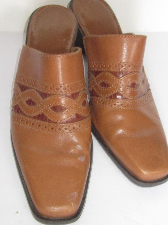 MULE Brown \u0026 Tan Woven Leather Square