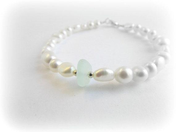 Sea Glass Bracelet Bridal Bracelet Sea Glass And Pearl Bracelet Sea Glass Jewelry For Bride Beach Bracelet Sea Glass Gift