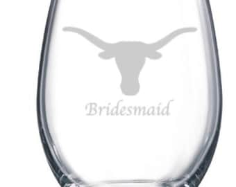 Etched Bull Skull Wine Glass