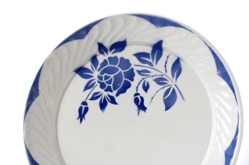 French antic plate Large round plate Very large French dish Digoin Sarreguemines 2 available Beige with dark blue flowered pattern 1900s