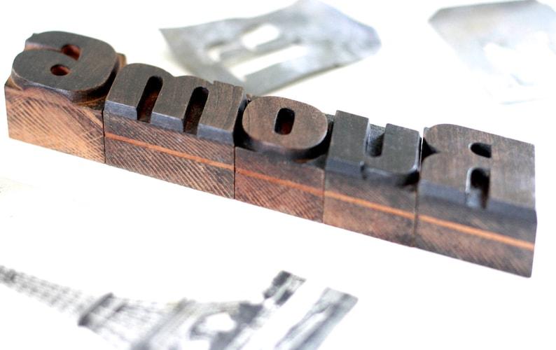 Letterpress blocks Wooden letter stamp French antique wooden letters press 19th Print Antique rosewood letterpress AMOUR Letters print