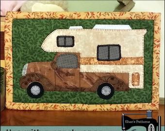 PDF Pattern for Let's Go Camping Rug, Camping Mug Rug Pattern, Camper Mini Quilt Pattern - Sewing Pattern, Tutorial, DIY