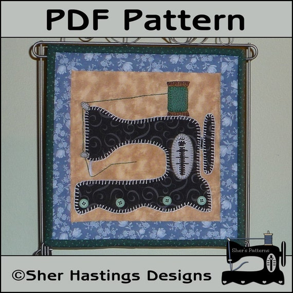 Pdf Pattern For Antique Sewing Machine Mini Quilt Quilted Etsy