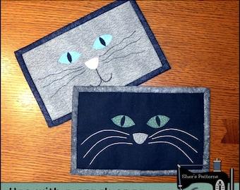 PDF Pattern for Cat Mug Rug, Cat Face Mug Rug Pattern, Cat Mini Quilt Pattern - Sewing Pattern, Tutorial, DIY
