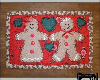 PDF Pattern for Gingerbread Mug Rug, Christmas Mug Rug Pattern, Gingerbread Mini Quilt Pattern - Sewing Pattern, Tutorial, DIY