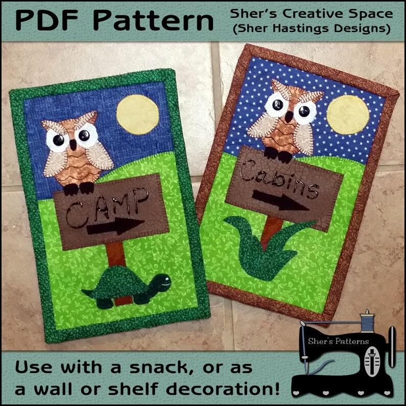 PDF Pattern For Camping Mug Rug Camp Sign Mug Rug Pattern