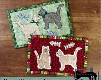 PDF Pattern for Cookie Cutter Cats Mug Rug, Christmas Mug Rug Pattern, Cat Mini Quilt Pattern - Sewing Pattern,  Tutorial, DIY