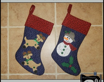 PDF Pattern for Reindeer & Snowman Christmas Stocking - Reindeer Stocking Pattern, Sewing Pattern, Snowman Stocking Pattern - Tutorial, DIY