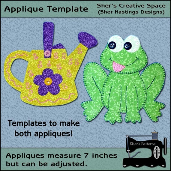garden applique templates frog applique pattern watering etsy