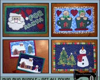 PDF Pattern for Christmas Mug Rug Bundle - Vol 2, Mug Rug Pattern, Christmas Applique Templates - Sewing Pattern, Tutorial, DIY