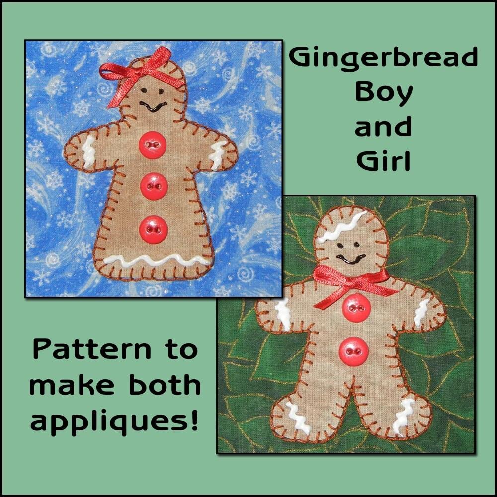 Gigerbread Boy Girl Applique Templates Gingerbread Girl Etsy