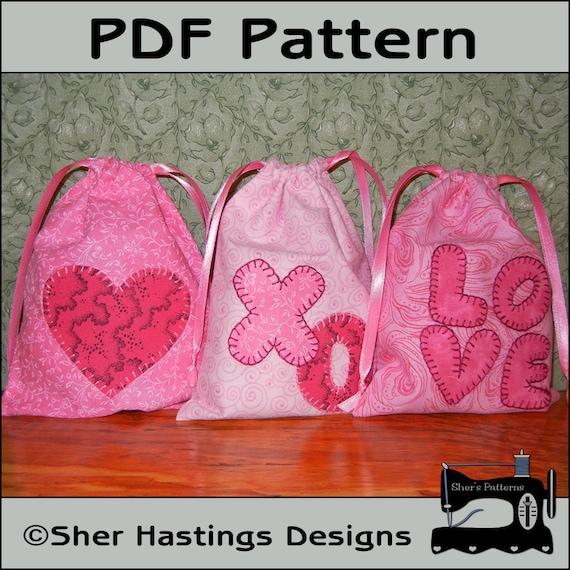 Pdf Pattern For Valentine Gift Bags Valentine Treat Bag Etsy