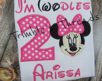 Twodles Birthday Shirt Minnie Mouse 2nd Personalized Girl