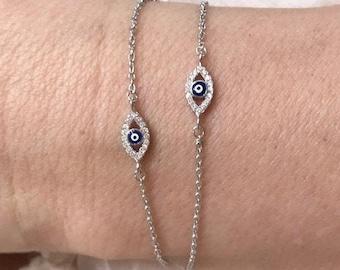 Evil Eye Adjustable CZ Bracelet Protection Bracelet Evil Eye Beaded Bracelet Silver Evil Eye Rhodium Plated Brass Good Luck Bracelet
