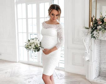 White Maternity Dresses for Brides