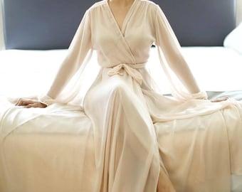 Long satin bridal robe