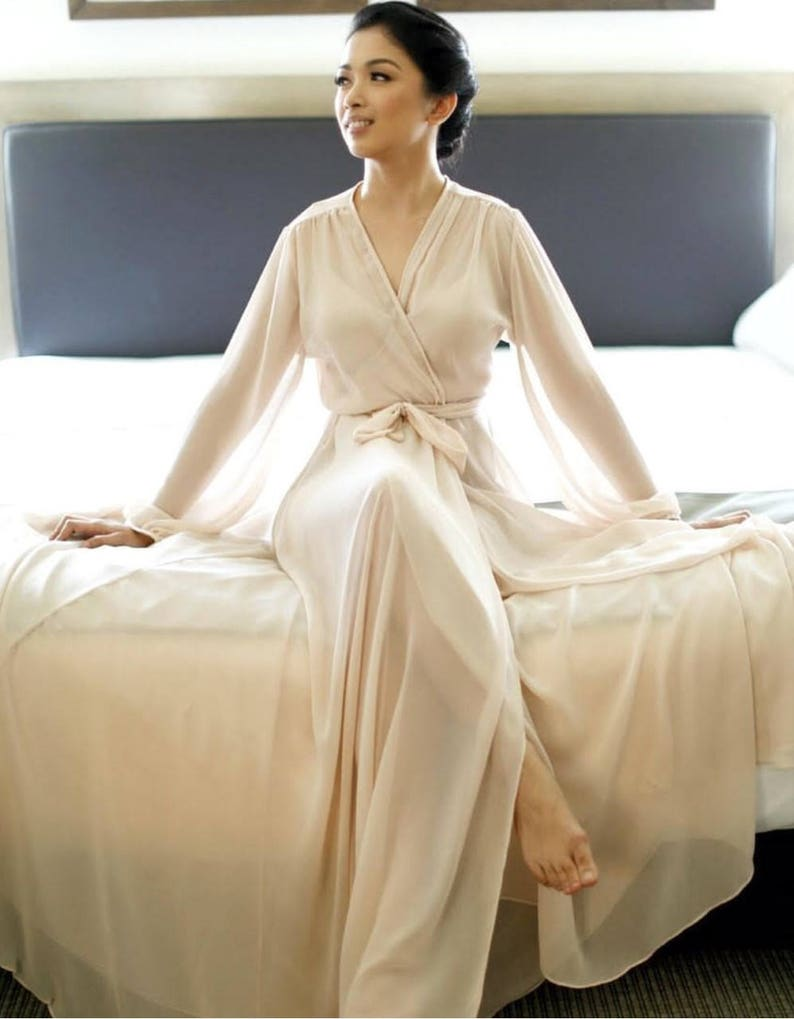 Chiffon long robe16 colors Bridal robe getting ready robe  cb5bc12be
