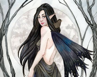 """8.5x11"""" Moon Fairy Watercolor Painting Wall Art Forest Trees Goth Print"""