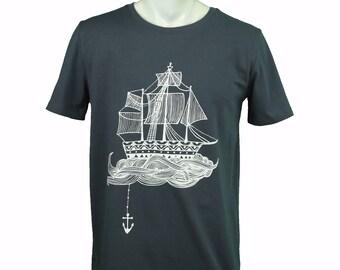 Ship t-shirt. hand printed t-shirt. Men's T Shirt Ship Tee graphic tee Organic cotton T-shirt mens tee Men's tee