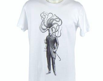Octopusman t-shirt. hand printed t-shirt. Men's T Shirt octopus Tee graphic tee Organic cotton T-shirt mens tee Men's tee