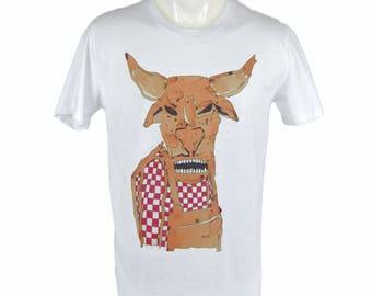 Cow t-shirt. hand printed t-shirt. Men's T Shirt cow Tee graphic tee Organic cotton T-shirt mens tee Men's tee