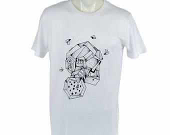 Metal head t-shirt. hand printed t-shirt. Men's T Shirt head Tee graphic tee Organic cotton T-shirt mens tee Men's tee