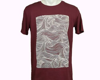 Sea waves t-shirt. hand printed t-shirt. Men's T Shirt waves Tee graphic tee Organic cotton T-shirt mens tee Men's tee