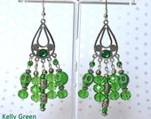 Green Sugar Skull Earrings, Dangle And Drop Howlite With Glass Beads, Day Of The Dead Earrings, Green Skull Jewelry, Jewelry With Skulls
