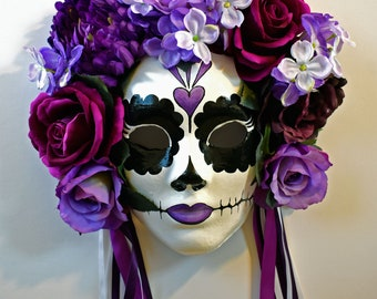Day Of The Dead Masks, Accessories, Wall Mounted Masks, Wearable Masks, Paper Mache, OOAK Gifts, Art And Collectibles, Sculpture, Purple