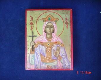 ST.OLGA  saint olga.religious. hand painted .byzantine.Αγια Ολγα.αγιογραφια.