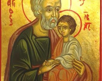 Saint Joseph,catholic icon, hand painted icon,greek icon