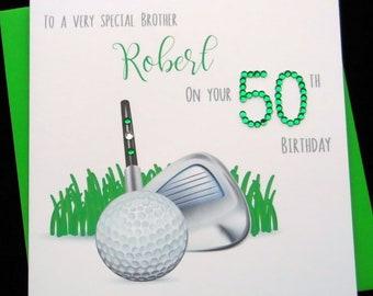 Personalised Handmade Golfing Golf Birthday Card