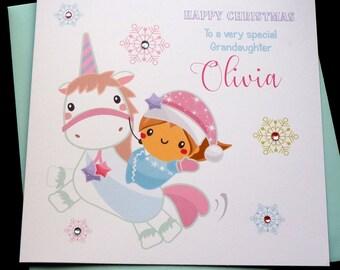 Personalised Unicorn Christmas Card Any Name or Wording