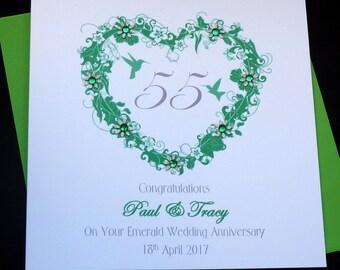 Emerald /55th  Wedding Anniversary personalised card