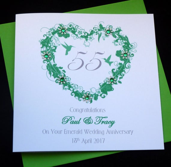 Emerald Wedding Anniversary Gifts: Emerald /55th Wedding Anniversary Personalised Card