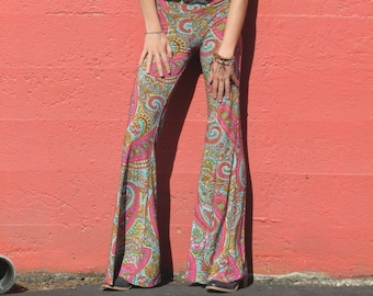 CORAL TUQUOISE PAISLEY  flare leg bell bottom fashion gypsy hippie retro festival yoga beach lounge pants