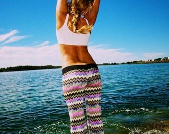 CROCHET KNIT CHEVRON stripe boho beach gypsy festival dance stretch yoga flare leg pants or leggings