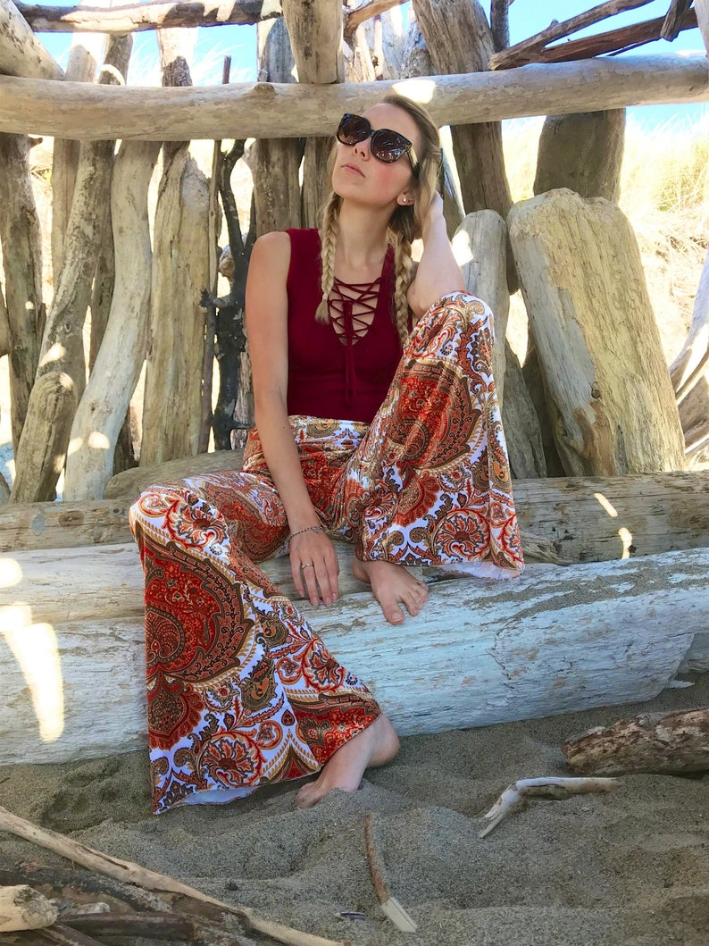 70s Clothes | Hippie Clothes & Outfits PAISLEY VELVET 70s velour free people janis joplin hippie chic boho dance festival burning man gypsy flare bell bottom pants (or leggings) $76.00 AT vintagedancer.com