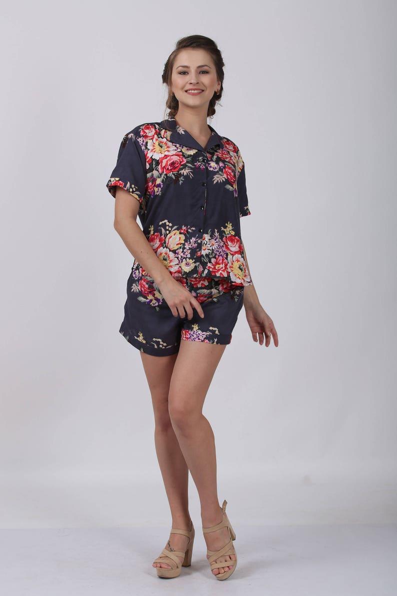 8f34076d81391 Gray Floral pj set floral pajama shorts pyjama pants