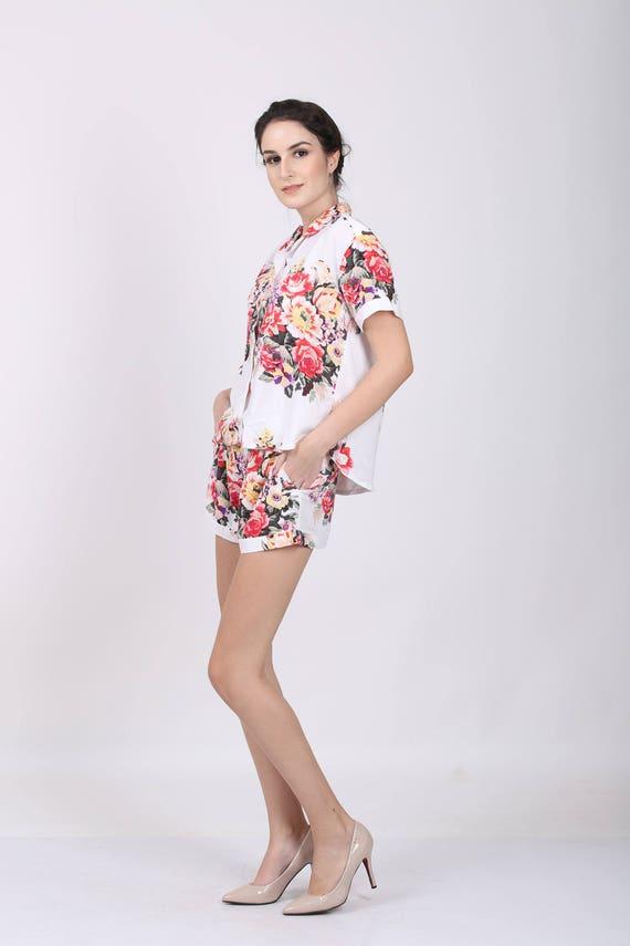 Floral Pj Satz floral Pyjama Shorts floral Pyjama-Hose | Etsy