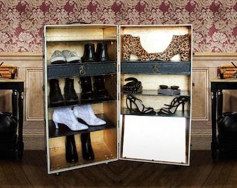MadeToOrder - Unique SHOE CABINET Steamer Trunk Vintage style Luxury Furniture Wardrobe Office Storage Rack: Monroe